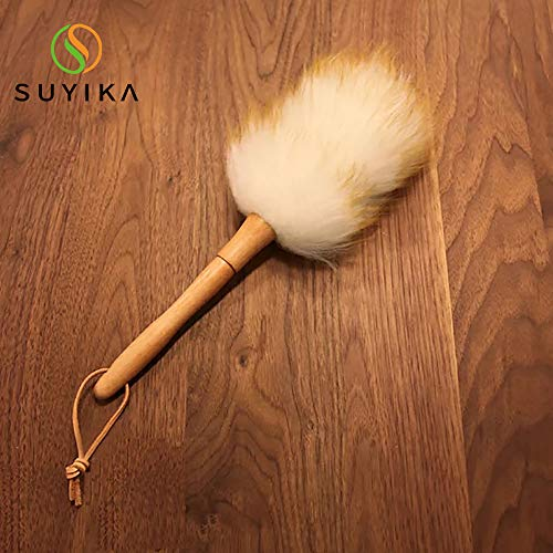 Suyika ほこり取り ウールダスター ほうき ハンディモップ 羊毛のホコリ取り 掃除道具 部屋掃除 埃払い 埃取り?Sサイズ32cm はたき ダスター ナチュラル 天然木 ふわふわ おしゃれ