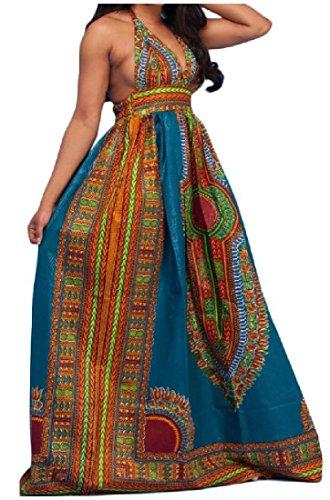 DressUWomen Halter tótems impresión del estilo étnico swing grande dashiki volver ahuecadas maxi vestidos para Mujers Azul extra Pequeño