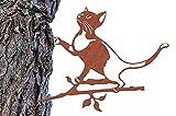 Illumino Baumstecker Metall Rost Gartendeko Glücksvogel Katze Edelrost Naturrost Vogel Deko für den Garten