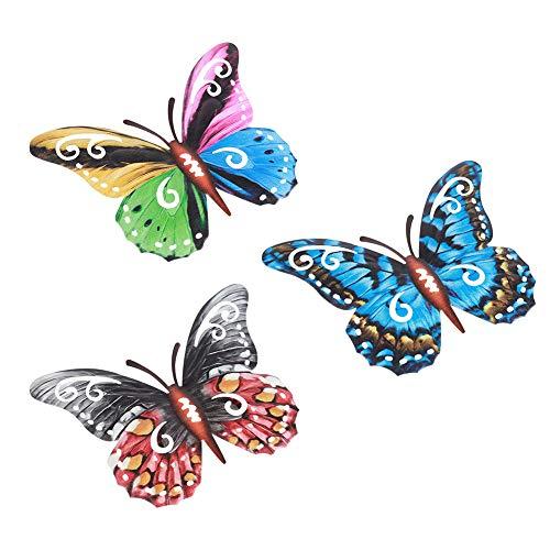 Decoración de pared decorativa de hierro forjado con mariposas de colores, 3 piezas de mariposas de metal para interiores y exteriores, para colgar
