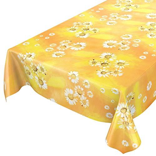 ANRO Wachstuchtischdecke Wachstuch Wachstischdecke Tischdecke Kamille Gelb Blumen Sonne 100x140cm