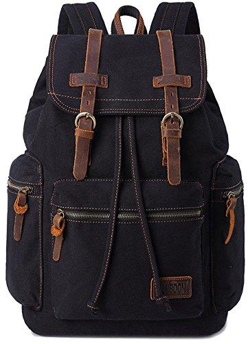 BLUBOON Canvas Vintage Backpack Leather Casual Bookbag Men Rucksack (Black)