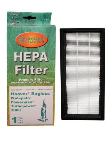 (1) Hoover Powermax Widepath HEPA w/activated Charcoal Filter, Bagless, Turbopower, Tempo, Sprint, Runabout Upright, Powermax, WindTunnel Vacuum Cleaners, 40110008, 43613026, 43613-026-g by EnviroCare