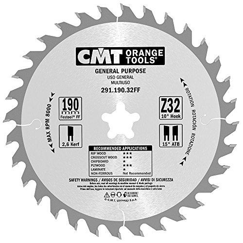 CMT Orange Tools cirkelzaagblad HW 190 x 2,6/1,6 x 20 (Festool® FF) Z = 32 10° ATB - 291.190.32FF - voor lengte- en dwarsdoorsneden