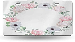 dsdsgog Protective License Anemone Flower,Delicate Peony Rose Brunia Eucalyptus Leaves Round Wreath,Almond Green Pale Pink White 12x6 inches,SUV Plates Metal