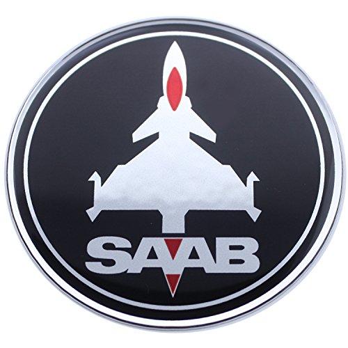 EU-Decals 63,5 mm Jet avión Saab Negro Rojo Cromo capó trampilla del Maletero del Coche de la escotilla del capó del Maletero con Emblema Curvado 3D Adhesivo en la Parte Posterior 9-3