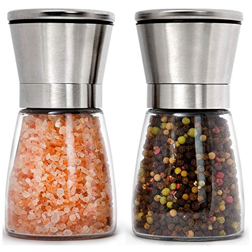 Home EC Stainless Steel Salt and Pepper Grinders refillable Set - Short Glass Shakers with Adjustable Coarseness for sea salt, black peppercorn, or spices - Salt and Pepper Mill set w/Funnel & Ebook