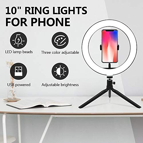 UFLIZOGH Led Ring Licht Kit 10 inch Dimbare Fill licht met Statief en Telefoonhouder Live-licht Make-up Portret Fotografie Video