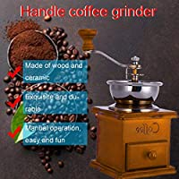 Household Hand Grinder Coffee Grinder Coffee Maker Coffee Bean Grinder Antique Appearance Stainless Steel Wooden Base