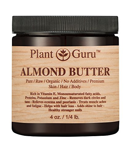 Almond Body Butter 4 oz 100% Pure Raw Fresh Natural Cold Pressed. Skin, Hair, Nail Moisturizer, For DIY Creams, Lip Balms, Lotions and Soap Making