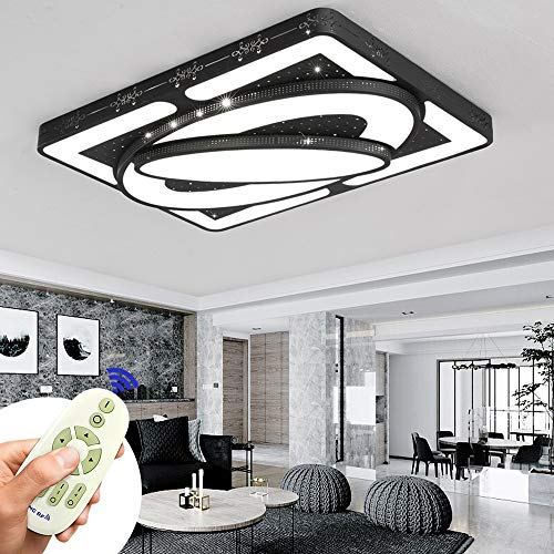 Lámpara de techo 78W LED Luz de techo creativa Nave espacial Lámpara de ahorro de energía para dormitorio Lámpara Luz de sala de estar Cocina Balcón Pasillo Marco negro (Regulable 3000K-6500K)