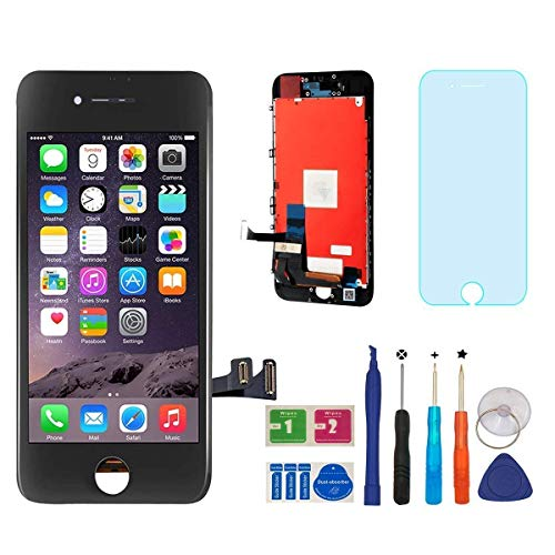 Repair-Screen Screen Replacement for iPhone 7 LCD Touch Screen Digitizer Frame Assembly Full Set with 3D Touch with Repair Tools and Screen Protector(Black-4.7 inch)