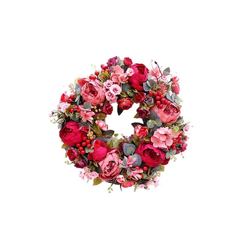 silk flower arrangements camisin decorative door wreath,silk flower peony head flower wreath 40cm handmade garland for autumn winter outdoor display red