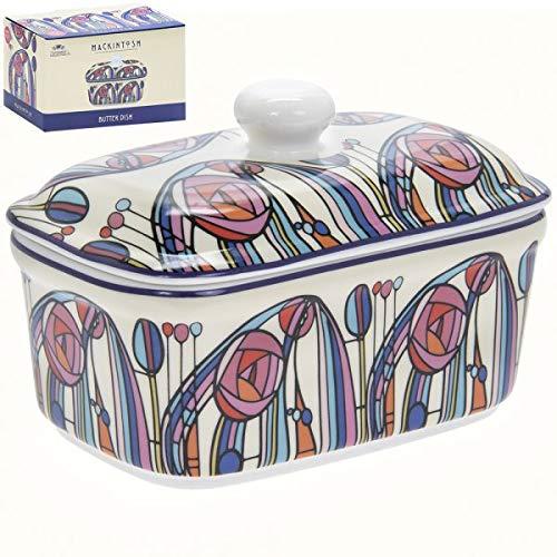 Butterdose im Mackintosh-Design aus feinem Porzellan mit Deckel