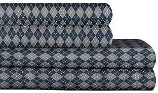 AURAA Essential 300 Thread Count 100% Long Staple Printed Cotton Sheet Set - 4 Piece Set, Soft & Smooth Sateen Weave, Luxury Hotel Bedding,Oeko-TEX Certified (Dimond, Queen)