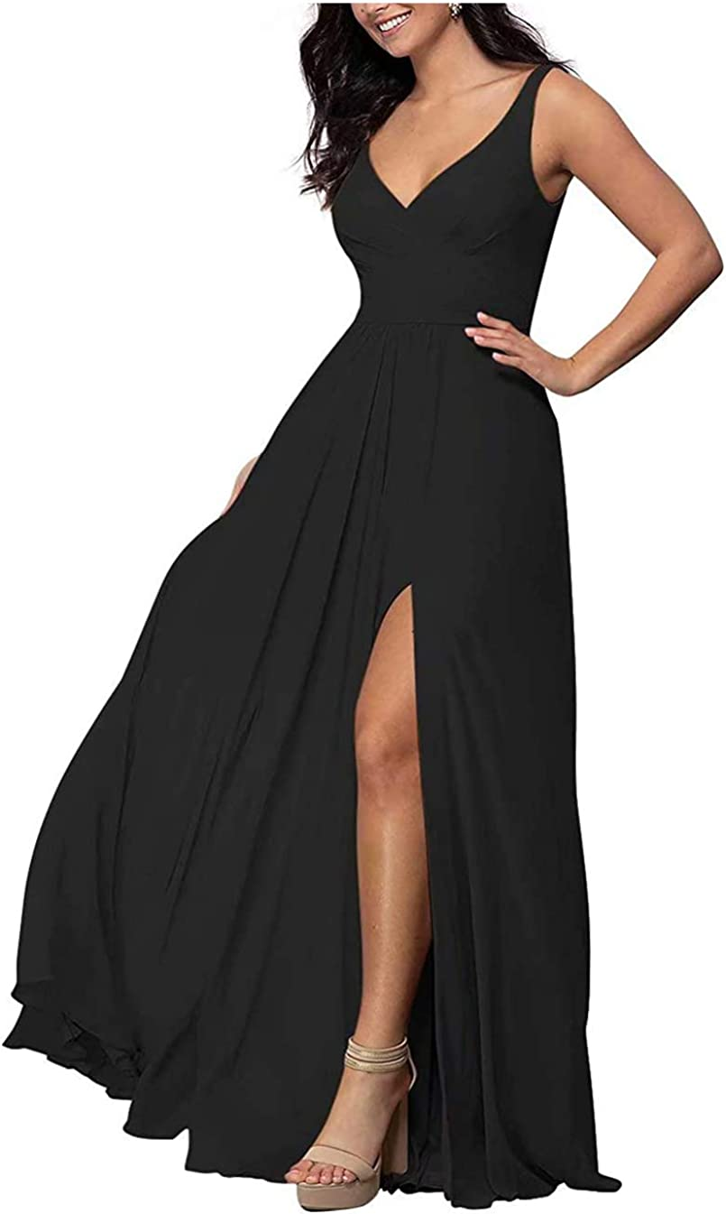 DDMIX Women's Long Bridesmaid Dresses with Slit Pleated Chiffon V-Neck Party Formal Dress