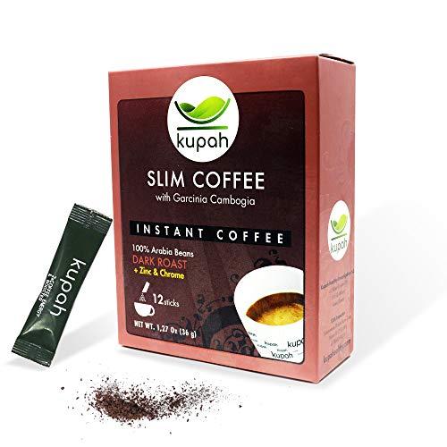 Schlankheitskaffee | Kupah Slim | Natürlicher Instant-Kaffee | 12 Beutel x 3 g, 36g | Garcinia Cambogia | Reduziert den Appetit und hilft beim Abnehmen | Handwerkliche Röstung | Schnellkaffee sticks