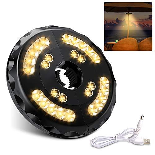 [Aggiornato] Lampada Ombrellone da Giardino Wireless Ricaricabile USB con 28 LED, 2 Modalità di Illuminazione, Durata: 18-54 ore, Luci per Ombrellone da Giardino Esterno Terrazzo Balcone (Luce Calda)