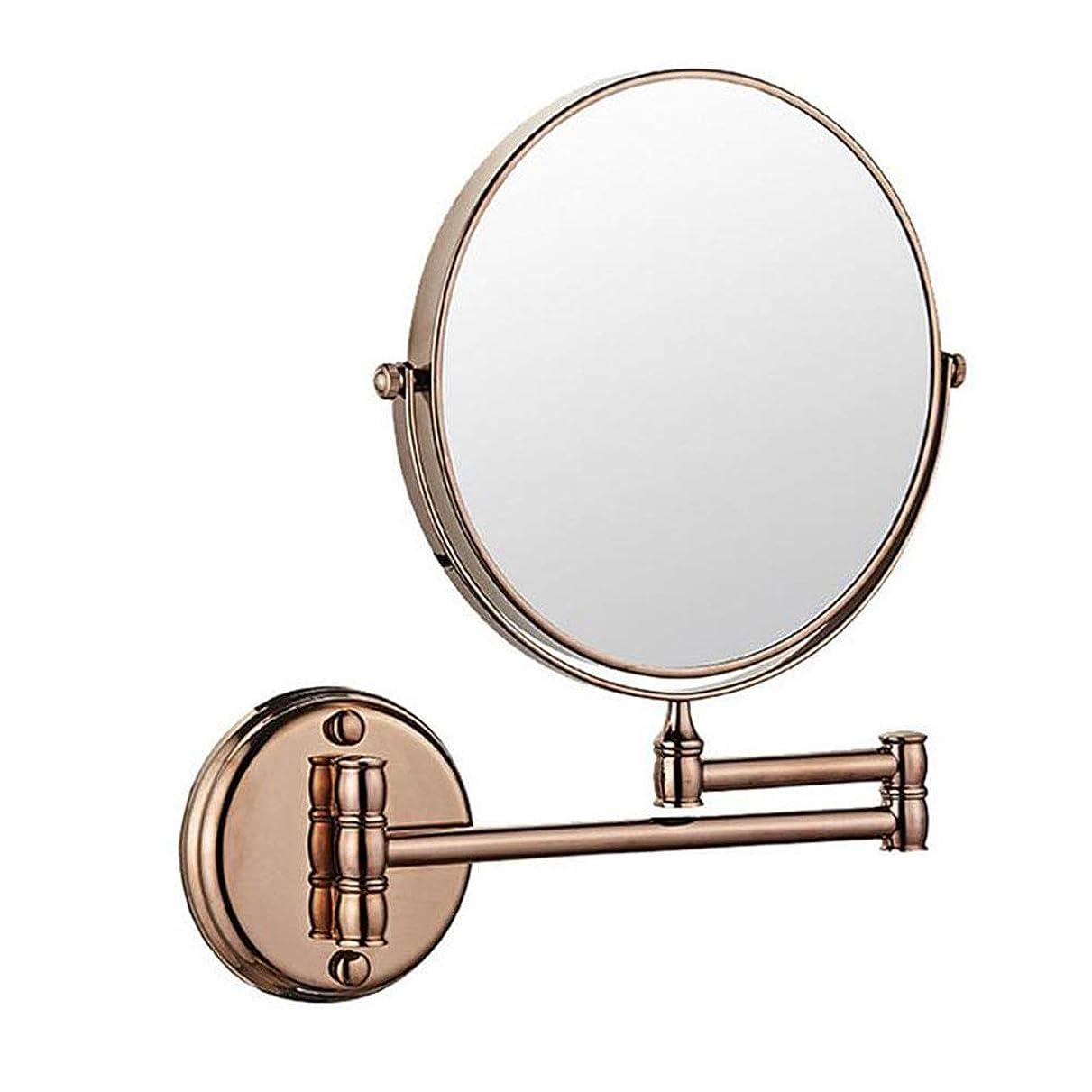 銃鼻オピエートLSYO 6インチ望遠鏡 両面 浴室鏡、ンチ360度回転 丸型 畳み式 バニティミラー 拡張可能 シェービングミラー,Rose Gold_3X Magnification