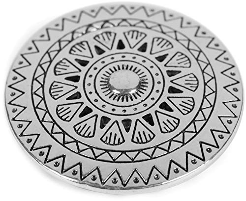 styleBREAKER Damen Magnet Schmuck Brosche rund mit gezacktem Azteken Muster, für Schals, Tücher, Ponchos, Anhänger 05050090, Farbe:Silber