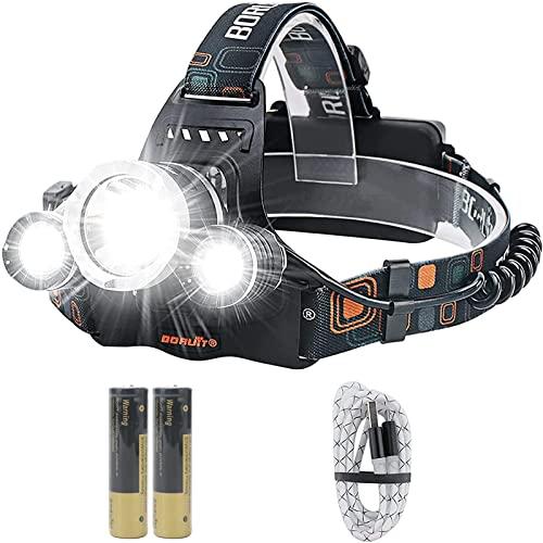 Boruit RJ-3000 - Linterna frontal con luz LED recargable por USB, 5000 lúmenes, superbrillante, resistente al agua, 4 modos, ideal para correr, acampar, senderismo y más