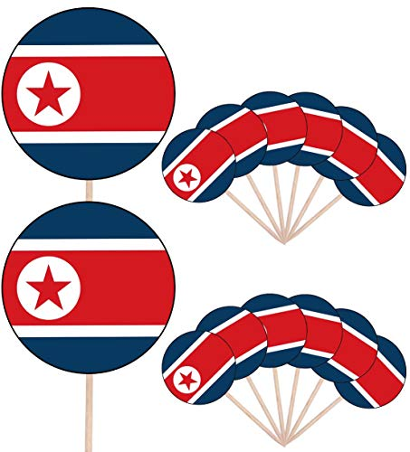 Korea (Noord) Vlag Party Food Cake Cupcakes Picks Sticks Vlaggen Opstaan ​​Decoraties Toppers (Pack van 14)