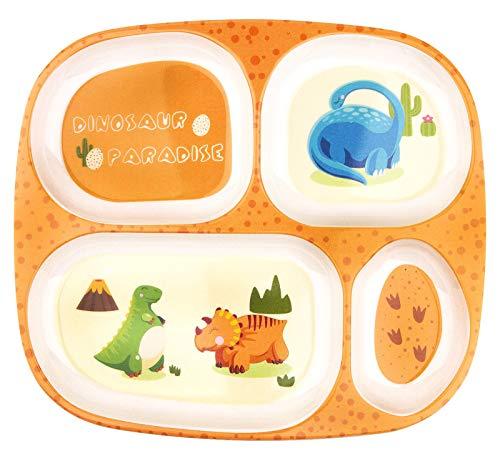 Juego de platos para niños, vajilla para bebés para niños pequeños que alimentan un plato dividido (Yellow)