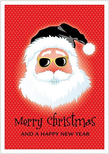 fioniony Coole lustige Hipster Weihnachtskarte Text: Merry Christmas and a Happy New Year Klappgrußkarte | Neujahrskarte zu Weihnachten mit Weihnachtsmann in Rot (Mit Umschlag) (1)
