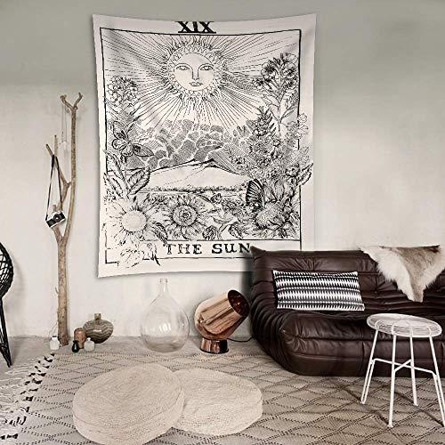 Aakriti Gallery Wandbehang Sonne Single Hippie Mandal Wandbehang Art Decor Mandala Tapisserien Hippie Dorm 213,4 x 139,7 cm weiß