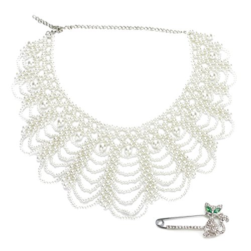 kilofly White Faux Pearl False Collar Necklace, Coco, with Rhinestone Cat Pin