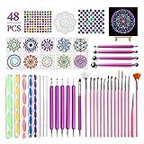 48 Cs Mandala Dotting Tools, Kit De Plantilla De Pintura De Mandala Para Pintar Rocas Con Bandeja De Pintura Para Colorear, Dibujar Y Dibujar Suministros Artísticos,Incluye Bolsa De Almacenamiento