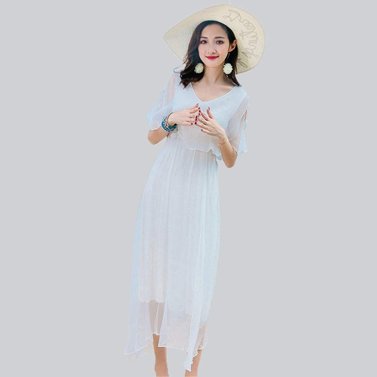 Beach Dress Women Bohemian Beach Dress V Neck Boho Flowy Swing Long Maxi Dress Beachwear Dress Suitable for Outdoor Beach Walks (color   White, Size   S)