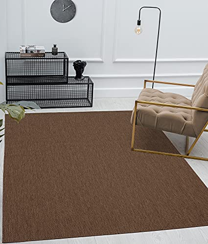 Mia´s Teppiche Lara - Alfombra para Interior y Exterior (Tejido Plano, 80 x 200 cm), Color marrón