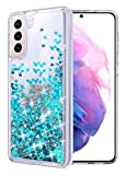 WORLDMOM Glitter Case for Samsung Galaxy S21 Plus Case, Bling Flowing Liquid Floating Sparkle Colorful Waterfall TPU Clear Cover Case Compatible with Galaxy S21 Plus 6.7 Inch 2021, Blue
