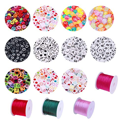 nuoshen 1000 pcs Acrylic Charms Pastel Beads Kit, Alphabet Letters A-z Beads with 4 Rolls 40 Meters Colored Elastic Bracelet String for Jewelry Making DIY Craft Bracelet Necklace Handmade Gift