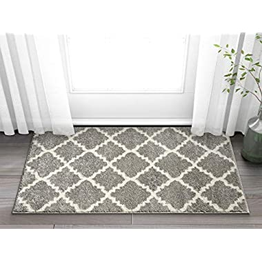 Harbor Trellis Grey Quatrefoil Geometric Modern Casual Area Rug 2x4 (2'3  x 3'11 ) Easy to Clean Stain Fade Resistant Shed Free Contemporary Traditional Moroccan Lattice Soft Living Dining Room Rug