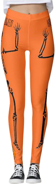 Women's Yoga Legging Halloween Running Leggings Pumpkin Skull Sl
