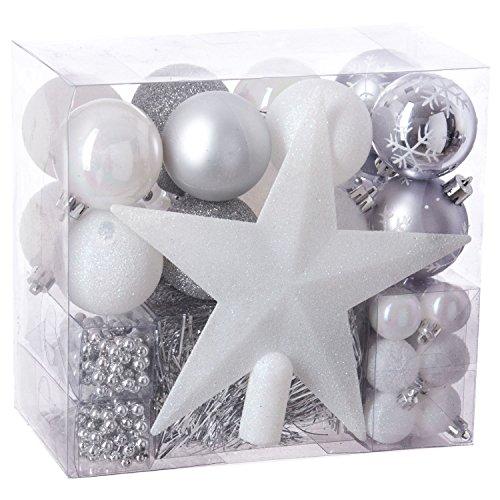 Féérie Lights & Christmas Kit déco pour Sapin de Noël - 44 Pièces - Blanc et Gris