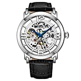 Stuhrling Original Skeleton Mens Watch - Winchester Mechanical Automatic Watch Self Wind Mens Dress Watch - with Premium Leather Band (Silver)