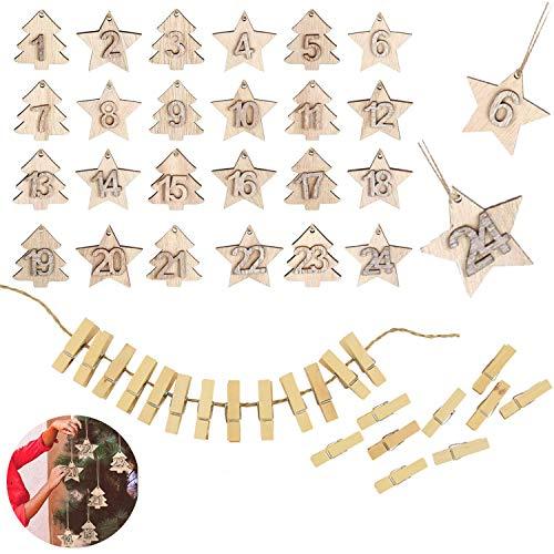 Jiahuade Adventskalender Zahlen Holz,Säckchen für Adventskalender,Zahlen Button Kinder,Adventskalender Anhänger,Adventskalender Zahlen,1 bis 24 Holz,Holz mit Stern