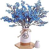 YYHMKB Gypsophila Flores Artificiales Seda Arbusto Falso Ramo de Flores Arreglo Floral Decoraciones para el Banquete de Boda en el hogar Decoración (Paquete de 6) Azul