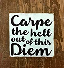 CELYCASY Carpe The Hell Out of This Diem - Wood Sign - Motivational Sign - Inspirational Sign - Office Decor - Gift for Friend - Funny