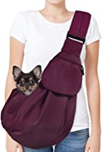 AUTOWT Dog Padded Papoose Sling, Small Pet Sling Carrier Hands Free Carry Adjustable Shoulder Strap Reversible Tote Bag wi...