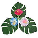 Pangda 32 Stücke Simulation Hibiskus Tropische Blätter für hawaiianische Luau Dschungel Party Dekoration - 4