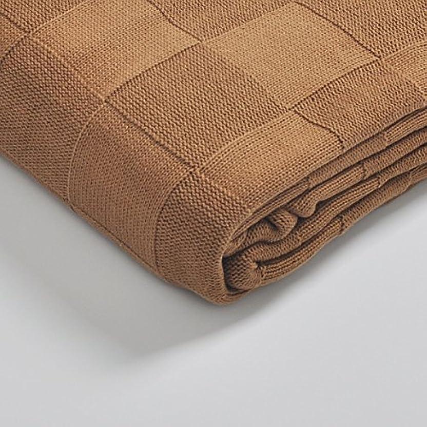 十二疑い者豪華なShiMin ニットブランケット、優しい肌触り 手作り毛布 手編み毛布 ベッド ソファー用 オフィス用 ヨーロッパ風 (Color : Brass, Size : S)
