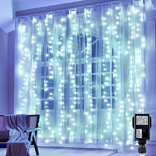 Hezbjiti 300 LEDs Tenda Luminosa 3m x 3m, Luce Stringa Luminosa 8 Modes, Luce Catena Decorare Interni ed Esterni Salotto Finestra Porta Patio Giardino Feste Natale Halloween Matrimonio