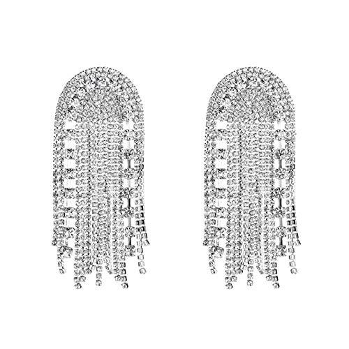 TFGUOqun Moda Señoras Boutique de Lujo Brillante Rhinestone Borla Colgar Pendientes Joyería Moda Mostrar Mujer Pendientes Accesorios para Mujeres, (Metal Color : Silver)
