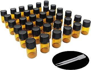Yizhao Ambar Botellas de Aceite esencial de Vidrio Vacías 2mlcon Reductor de Orificio y TapaPara Aceites Esenciales E-L...