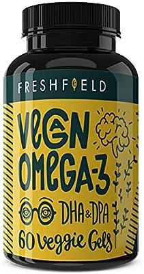 Freshfield Vegan Omega 3 DHA Supplement: Premium Algae Oil, Plant Based, Sustainable, Mercury Free. Better Than Fish Oil! Supports Heart, Brain, Joint Health - DPA for Men & Women. 2 Month Supply