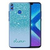 Stuff4 Personnalisé Coque pour Huawei Honor 8X/View 10 Lite Effet Paillettes Coutume Turquoise...